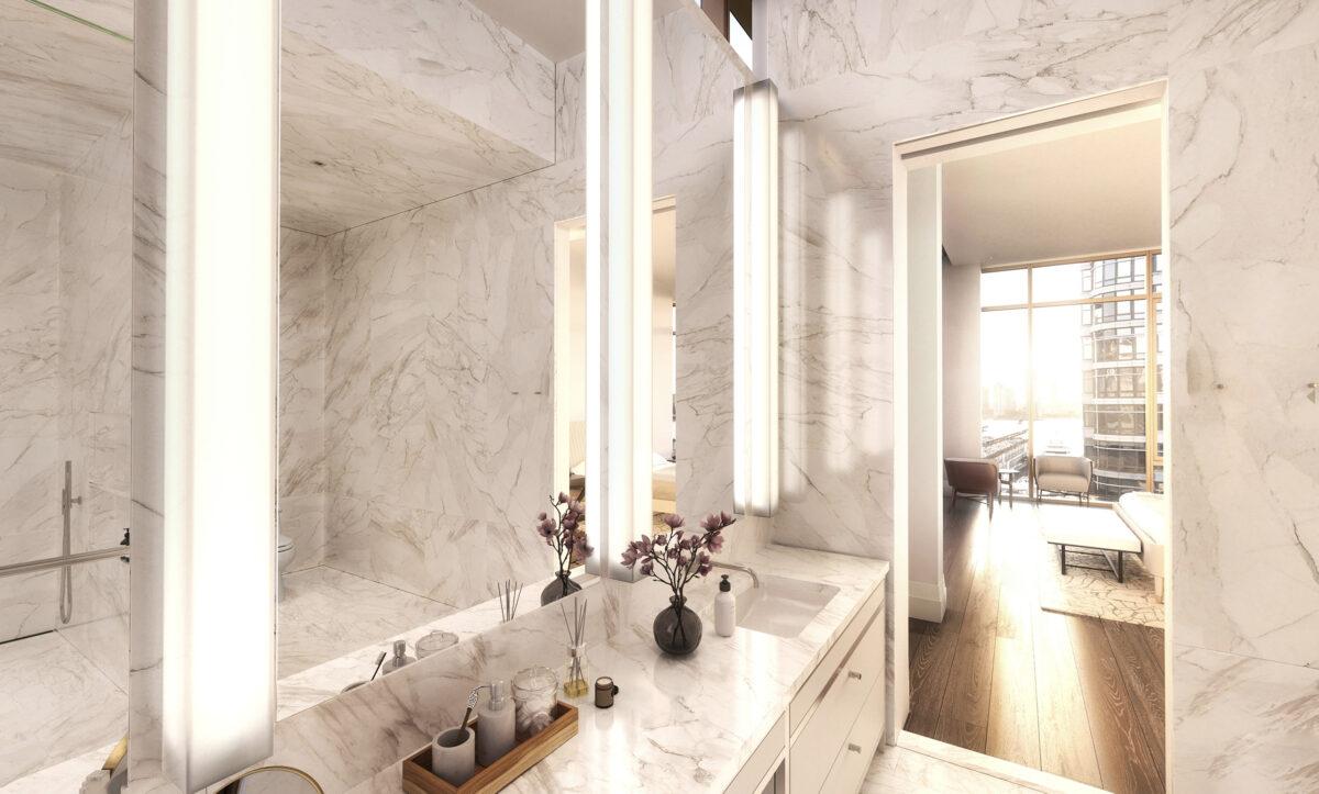custom drafted stone bathroom
